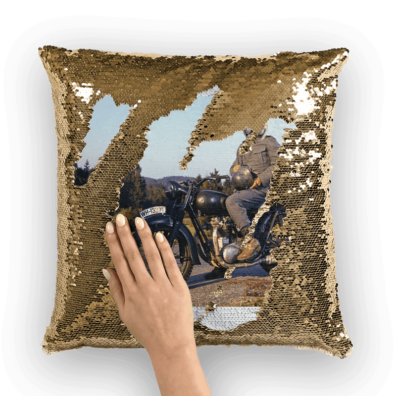 SquishyFacedCrew™ 'Steve McQueen' Featuring Your Pet (PERSONALISED) - Make your Pet Into A Movie Star! Sequin Cushion Cover