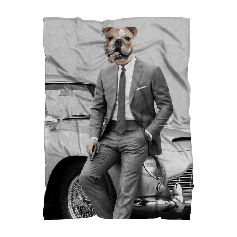 SquishyFacedCrew™ 'James Bond' Featuring Your Pet (PERSONALISED) - Make your Pet Into 007! Premium Sublimation Adult Blanket