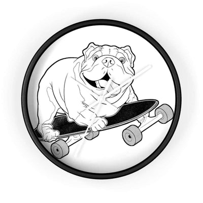 Wall clock | Skating Bulldog Clock - SquishyFacedCrew