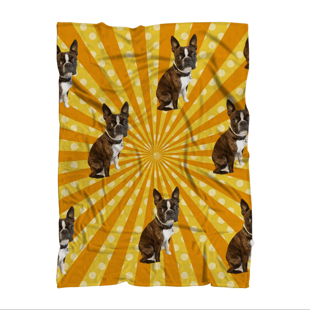 SquishyFacedCrew™ Pop Art Pattern Featuring Your Pet (PERSONALISED) W/ Hundreds of Background Options Premium Sublimation Adult Blanket