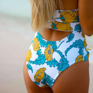 Swimsuit Floral Blue Ruffles