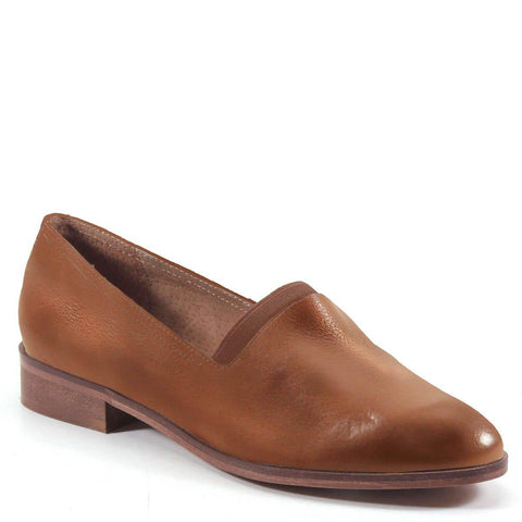 Diba True Women's Nine Pin Slip On Flat Loafer in Tan Variant Profile