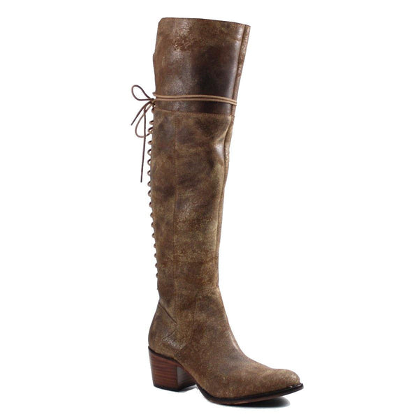 Over-the-knee boots were fit to be tied! The lace-up closure on the back of the shoe ensures a sleek fit on the calves, while the stacked heel and slightly Western silhouette create a look that is guaranteed to turn heads.