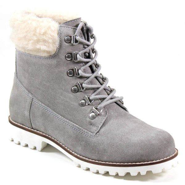 Diba True Women's Draw Tap Hiking Boot Light Grey Genuine Suede with Fluffy Contrast Collar Ankle Boot Profile