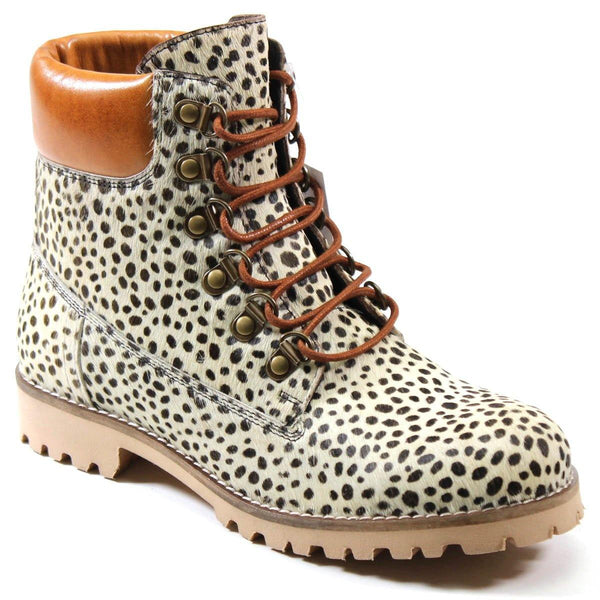 Diba True Women's Draw Tap Hiking Boot Spotted Polka Dot White and Black Pony Hair with Cognac Leather Contrast Collar Ankle Boot Profile