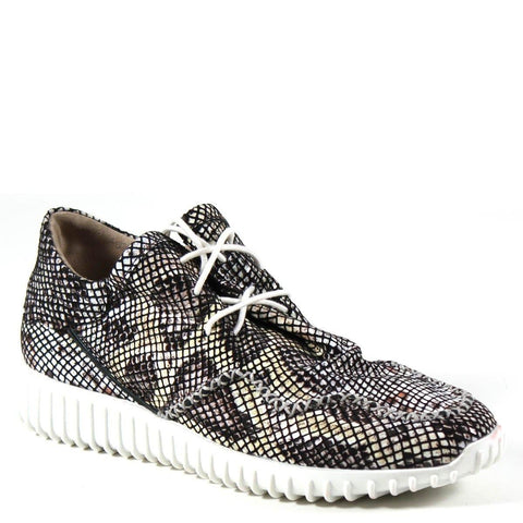 Your choice of shimmering metallic perforated leather or snake-print beige and black multi print enhances the sporty breathable sneaker called POKER HAND by Diba True. Minimal laces and intricate cross-stitching keeps the focus on fun with this show stopper.