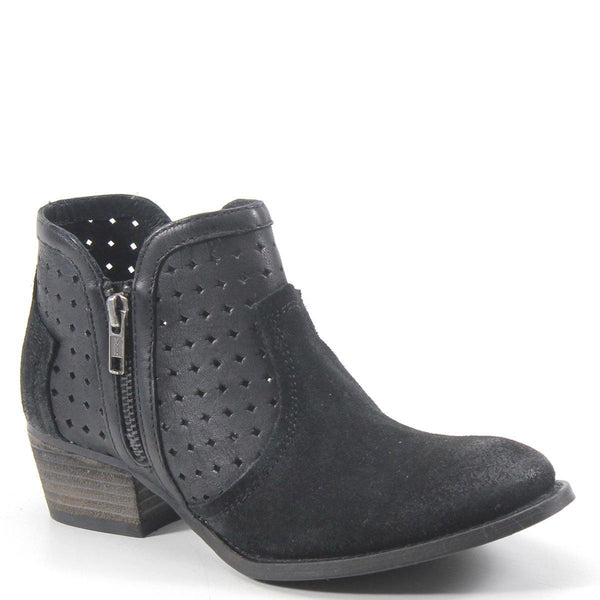 Perforated leather, a split shaft design adorned with side zippers, and western stitch detailing. The raised forefoot is grounded by a low 1.75 inch heel. This one-of-a-kind boot will jazz up many casual looks.