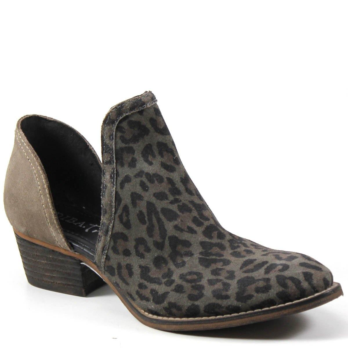Diba True Women's Shy Town V Cut Shoe Gray Leopard Printed Suede