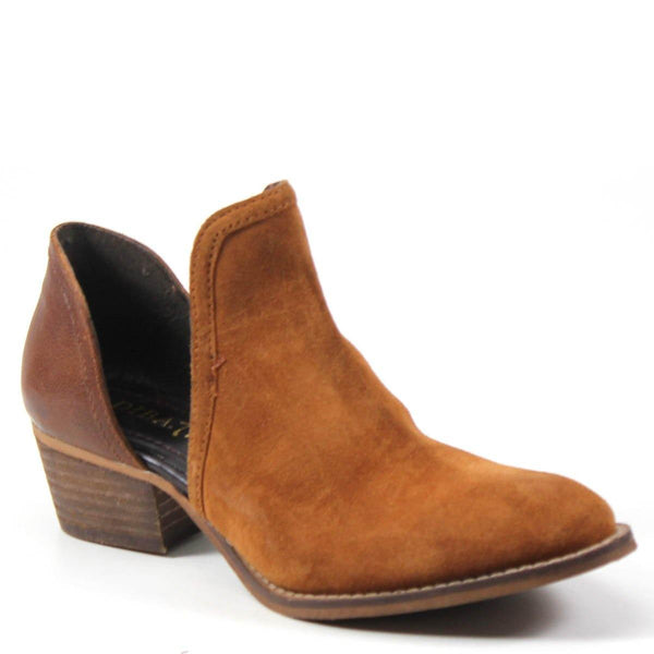 Diba True Women's Shy Town V Cut Shoe Tan Cognac Leather and Suede Profile