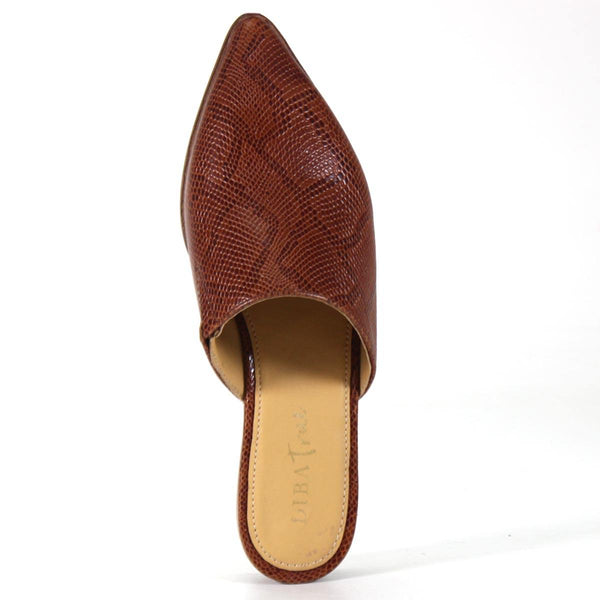 Diba True Women's High Up Flat Pointed Mule Genuine Leather Snake Printed Cognac Top View