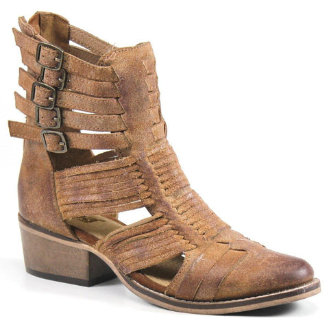The intricate cutouts and woven leather upper provide stellar style, while the adjustable buckles and back zip closure ensure a secure fit. The Western-inspired silhouette will complete many snazzy looks.