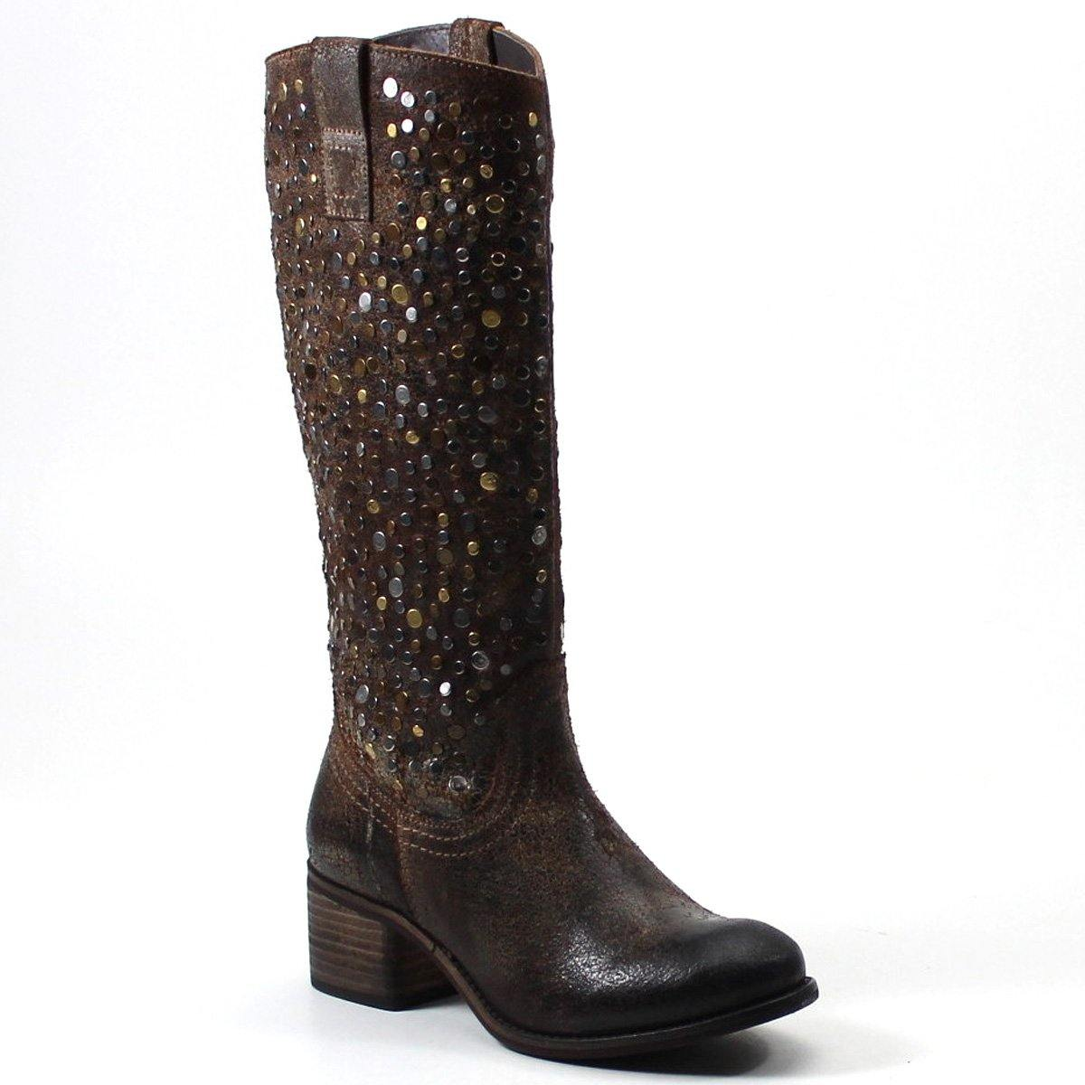 A tall shaft, studded detailing on the upper, and quick side pull tabs, these boots make an edgy fashion statement.