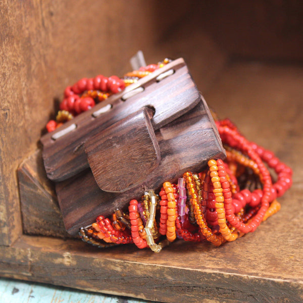 Wooden Clasp Beaded Bracelet-More Colors Available!