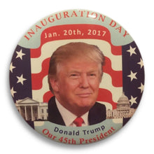 "Load image into Gallery viewer, 2017 President Donald Trump Inauguration Day Classic American Flag - 3"" Button"