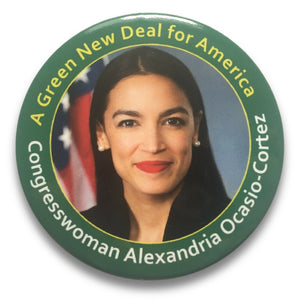 "2020 Alexandria Ocasio-Cortez ""A Green New Deal for America"" - 3"" Button"