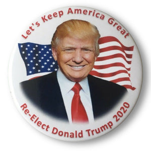 "2020 Donald Trump Re-Elect ""Let's Keep America Great"" - 3"" Button"