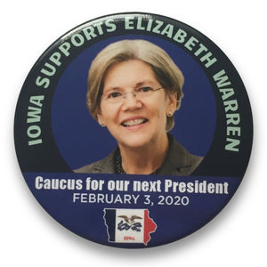 "2020 Elizabeth Warren for President Iowa Caucuses - 3"" Button"