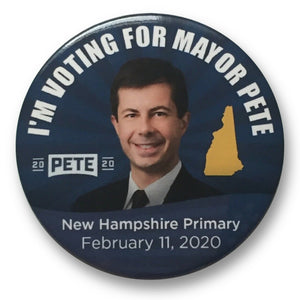 "2020 Pete Buttigieg for President ""I'm Voting for Mayor Pete"" New Hampshire Primary - 3"" Button"