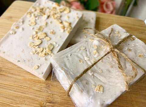 soap oatmeal twine natural wood bar