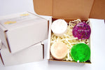 box crinkle paper green purple white brown