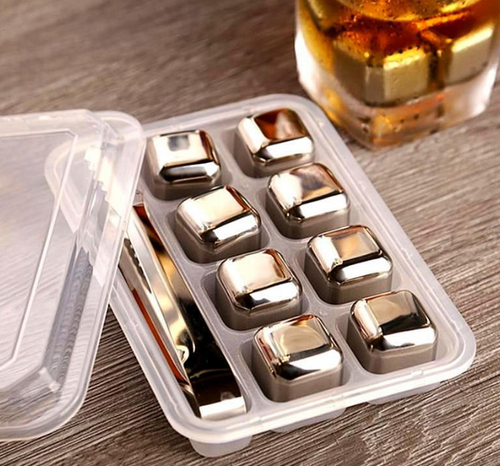 8Pcs Reusable *Eco Friendly* Stainless Steel Ice Cubes For Vodka, Whiskey, Wine