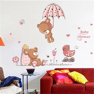 3D Cute Flying Bear Pink Baby Wall Stickers