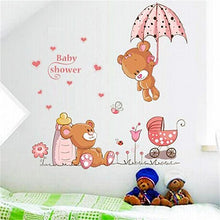 Load image into Gallery viewer, 3D Cute Flying Bear Pink Baby Wall Stickers