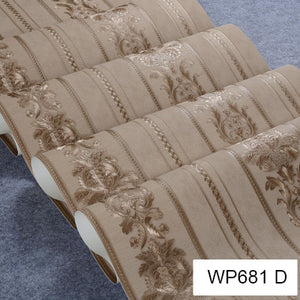 Luxury Damask Wallpaper Floral Carved Embossed Textured PVC Wallpaper
