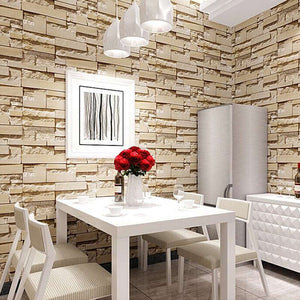 Modern 3D Stone Brick Wall Non-woven Wallpaper