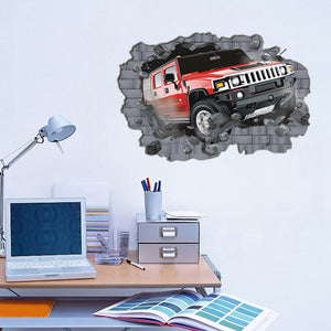 Large 3D Hummer Off-Road Cars Wall Stickers for Boys