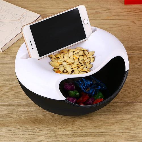 Smiling Face Dual-Layer Snack Storage Box Phone Holder