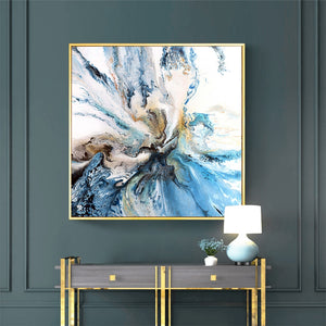 Abstract Blue Bold Art Coastal Landscape Wall Picture