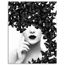 Load image into Gallery viewer, Black White Butterfly Woman Wall Art
