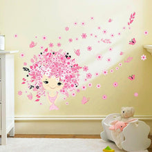 Load image into Gallery viewer, 3D Flower Fairy Pink Cute Mermaid Butterfly  Wall Sticker for Girls Room