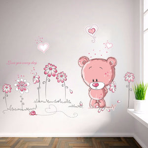 3D Cartoon Cute Pink Bear Will Sticker