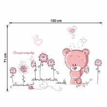 Load image into Gallery viewer, 3D Cartoon Cute Pink Bear Will Sticker