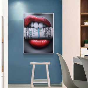 Red Lips with Money Wall Print