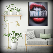 Load image into Gallery viewer, Red Lips with Money Wall Print
