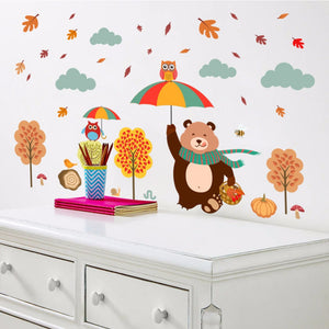 Forest Tree Branch Animal Cartoon Wall Stickers Kids Rooms