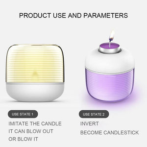 1pc Flameless LED Smart Remote Candle with USB Charger