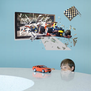 3D F1 Racing Large Wall DYI Stickers for Boys Rooms