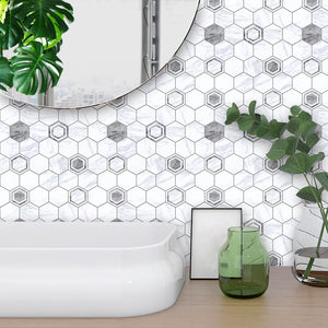10pc Modern Marble Gray Tile Stickers Home Decoration