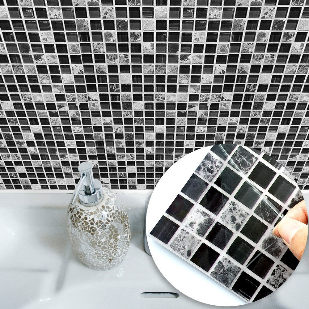 10pc Creative Black Tile Stickers for Bath Kitchen Decor