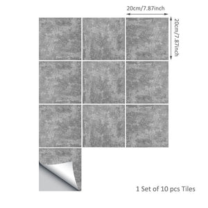 10pc Creative Cement Tile Stickers Bathroom Kitchen Decoration