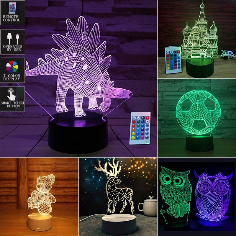 3D Animals LED Night Light With Remote Control for Kids