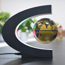 Load image into Gallery viewer, Gold C Shape Magnetic Levitation Floating Globe with LED Lights