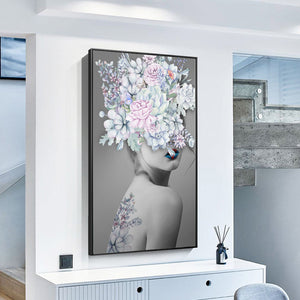 Modern Big Size Nordic Poster Flower Girl Oil Painting