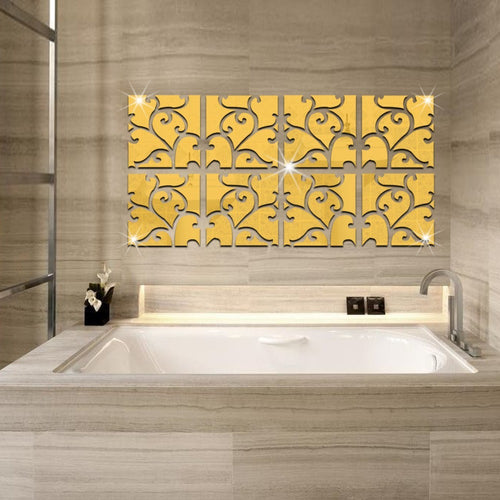 Creative Diy Patterned Mirror Sticker Home Decoration - Gold