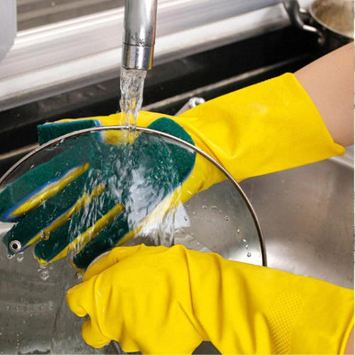 1 Pair Latex *Scrubbing* Dish Washing Sponge Gloves