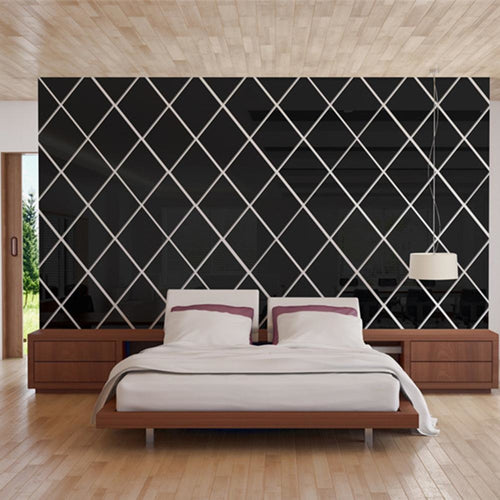 3D Diamonds *EASY APPLYING* Mirror Wall Stickers for Modern Design